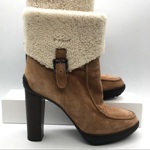 Tod's Shearling Suede Leather High Heel Boots 40